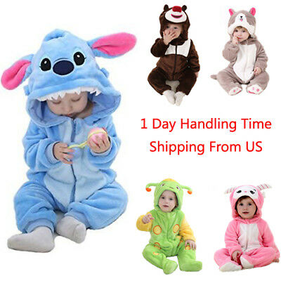 One Piece New Unisex Baby Toddler Costume Flannel Romper Outfits Animal Jumpsuit