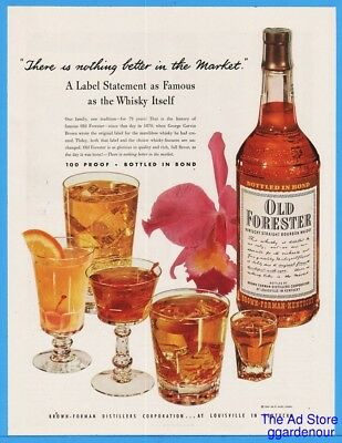 1949 Old Forester Kentucky Bourbon Whisky Various Cocktails Iris Flower COLOR Ad