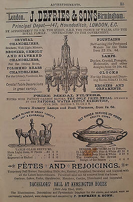 Crystal chandelier glass vintage advertisement 1882 ORIGINAL, ready to frame