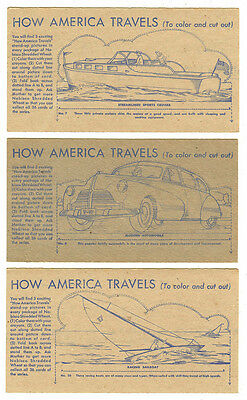 Vintage 1940s Nabisco Shredded Wheat, How America Travels, 3 Cards- #7,8,10