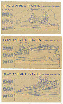 Vintage 1940s Nabisco Shredded Wheat, How America Travels, 3 Cards- #25,26,27