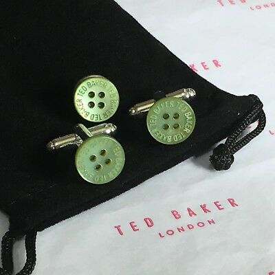Mens Ted Baker Green Mother Of Pearl Shirt Button Silver Cufflinks Lapel Pin Box