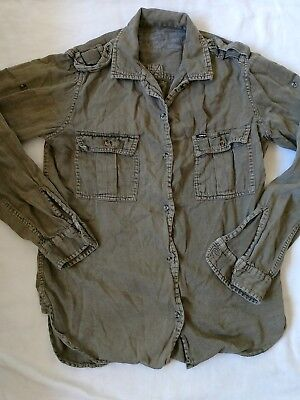 Hurley button up shirt boys/girls  juniors size large unisex army green