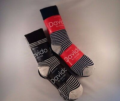 Davido Mens socks crew 100%cotton made in Italy 6 pair strip size 9-11