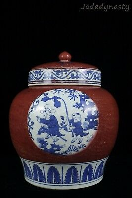 A Chinese Beautiful Blue and White Underglaze Red Porcelain Characters Pot