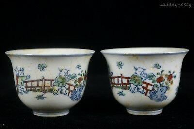 A Pair Chinese Beautiful Clash Colors Porcelain Characters Wine Cups