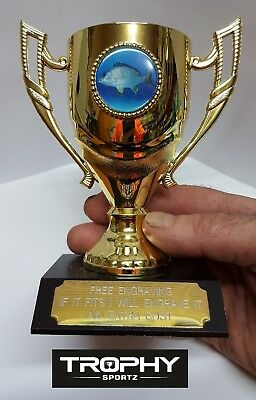 1 X BREAM FISHING THEMED CUP TROPHY,MEDAL,AWARD, 140mm High, FREE ENGRAVING