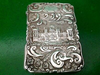 Nathaniel Mills Double Castle Top Antique English Sterling Silver Card Case 1846