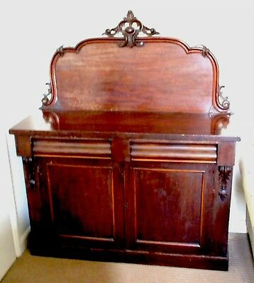 "Victorian mahogany Chiffonier With Carved Back 2 Drawers & Wine Holder Box 58""H"