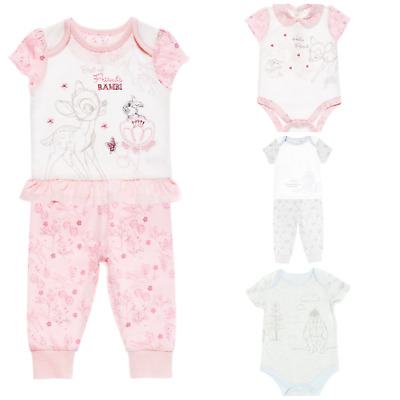 Disney Baby Tu Eeyore Bambi Girls Boys Bodysuit Romper Pjs Pyjamas Sleepingwear