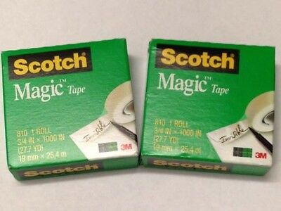 2 Rolls Scotch Magic Tape 3M, 810 3/4 inch x 1000 inch Refill Free Ship