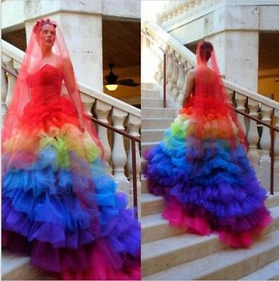 Rainbow Ball Gown Wedding Dresses Sweetheart Colorful Plus Wedding Bridal Gowns