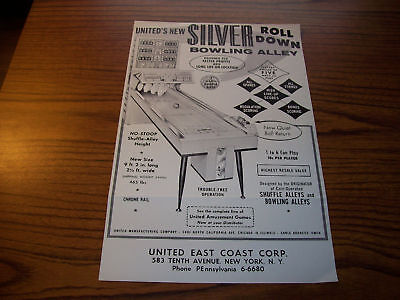 United Silver Roll Down Bowling Alley Flyer 1962