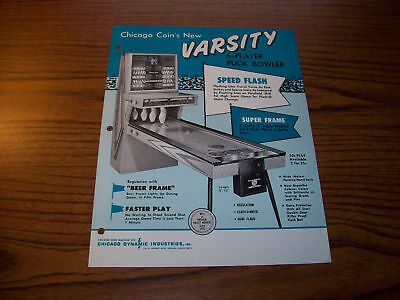 Chicago Coin Varsity Shuffle Alley Flyer  Brochure 1969