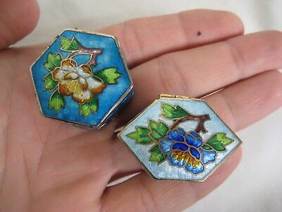 Two Vintage Chinese Cloisonne Pill Boxes