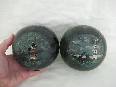 Antique Painted Glass Fishermans Floats