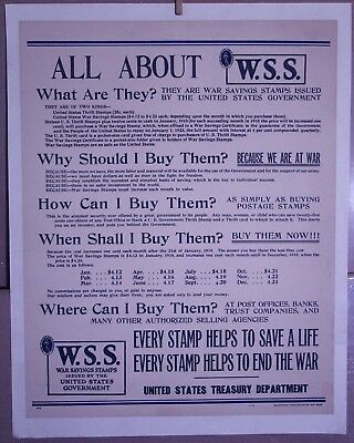 "ALL ABOUT WAR SAVINGS STAMPS 1918 linen-backed original poster 18 7/8"" x 24"""