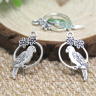 20pcs parrot charms Antique silver tone parrot with flower Charm Pendant 15x28mm