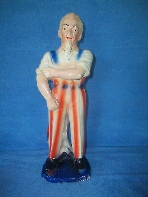 Vintage 1900's Chalk Uncle Sam Rolling Up Sleeves Chaulkware /  Chalk Ware