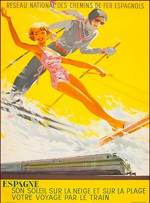 Espagne Spain  Vintage Railways Spanish Travel Advertisement Poster Print
