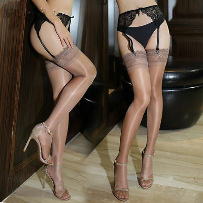 A Pair Lace Wide Border Women's Hold Ups Transparent Shiny Stockings Thigh Highs