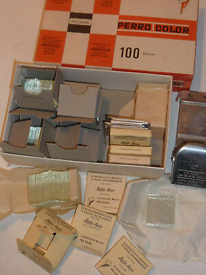vintage LOT ancien DIAPOSITIVE DIA verre glass PERROT COLOR LEITZ WETZLAR SLIDE