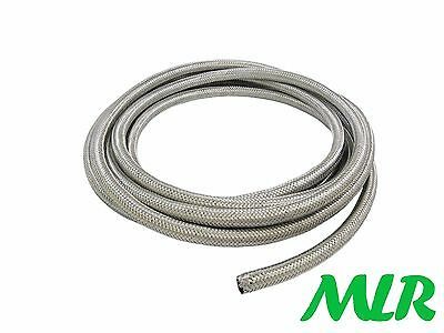 """6Mm 1/4"""" Stainless Steel Braided Rubber Fuel Injection Hose Pipe 1/2 Meter Baf.5"""