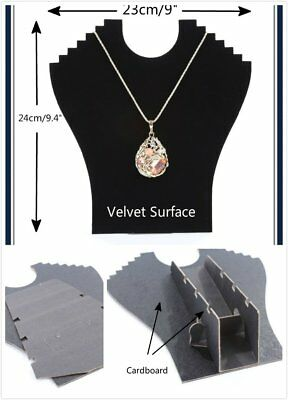 New Black Cardboard Velvet Necklace Jewelry Display Retail Shop Easel Stand