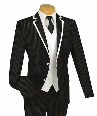 Men's Black Pinstriped 3pc 2 Button Slim-Fit Suit w/ Fancy White Vest & Trim NEW