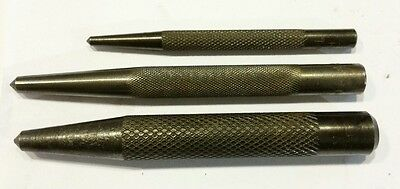 Vintage HP Metal Center Punches 3 sizes used in good condition.   Made in USA.