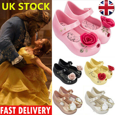 UK STOCK Beauty and the Beast Jelly Shoes Sandals Girls Kids Princess Rose Shoes