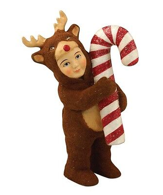 "Bethany Lowe ""Nathan in Reindeer Costume"" Flocked Figure"