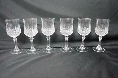"6 Cristal D'arques Longchamp 6.5""  Lead Crystal Water/wine Goblets/glasses"