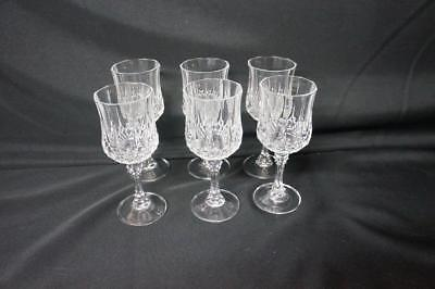 "6 Cristal D'arques Longchamp 6 1/2""  Lead Crystal Water/wine Goblets/glasses"