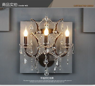 French Iron & Crystal Sconce Antique Rustic Wall Lamp E14 Light Lighting Modern