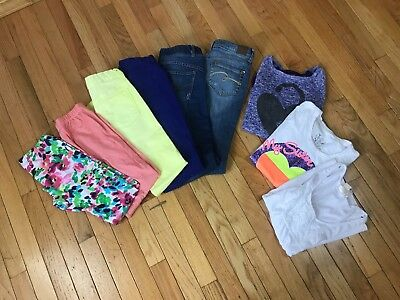 Girls MIXED LOT 9 items 3 Tops 6 Pants Justice Old Navy Children Place etc 10-12