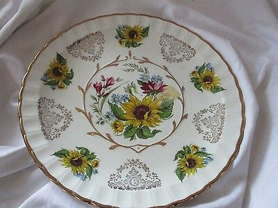 Wood & Sons Avon dinner plate Alpine White sunflowers yellow gold pink blue