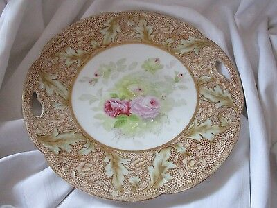 Bavarian China Germany highly decorated antique plate leaves roses gold accents