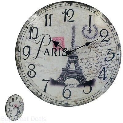 Home Decor Silent Round Wooden Wall Clocks Vintage Look Bedroom Bathroom French
