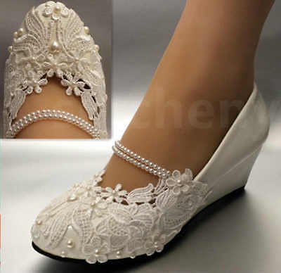 su.cheny White light ivory lace Wedding shoes flat heel wedges bridal size 5-12