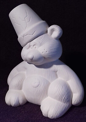 """Paint Your Own Ceramic Bisque - Cute Crackpot Bear - approx 9"""" tall"""