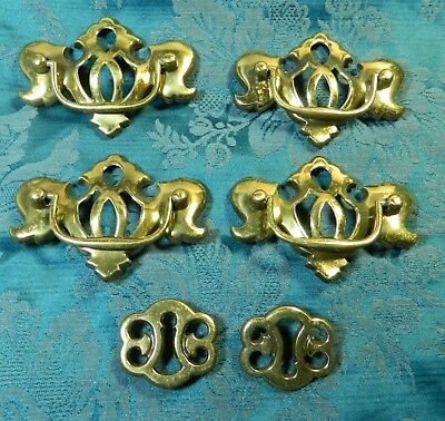"Vintage Brass Plated Drawer Pulls Set of 4 Large, 2 Small, 4.25"" Wide & 2"" Wide"