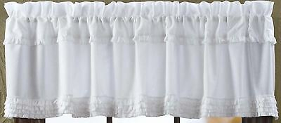 """72"""" Wide Window Valance White Sheer Romantic Cottage Chic Ruffled 100% Cotton"""