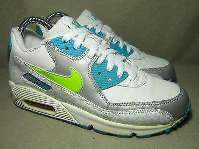 huge selection of 4935d a9baa VGC NIKE AIR MAX 90 GS WHITE CYBER-MRN BL-MTLC PLTNM Trainers