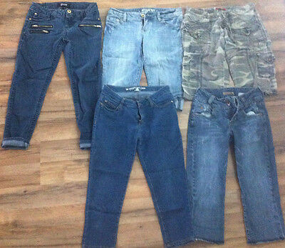 Juniors Capris Lot, 5 pairs of Capris, Paris Blue, Mossimo, Dream Out Loud SZ 3