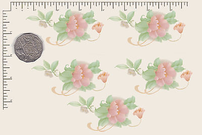 "5  x Waterslide ceramic decals Pastel  pink flower spray 3 1/2"" x 2"" PD806"