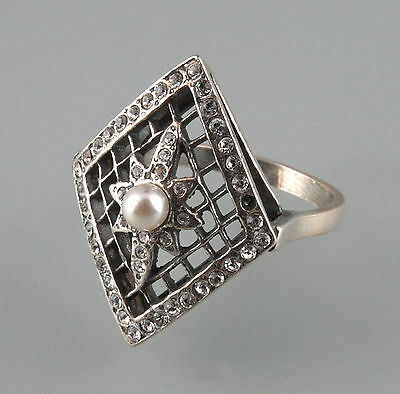 925 Silver Ring with Pearl and Swarovski Stones Big 58 a8-01141