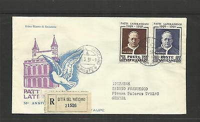 VATICAN CITY ~ 1959 FDC LATERAN TREATY 30th ANNIVERSARY PIUS XI