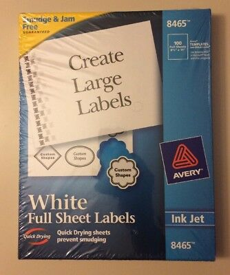 avery full sheet labels for inkjet printers 8465 32 90 picclick