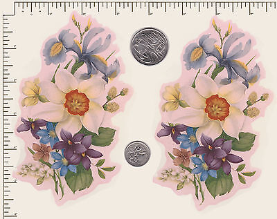 "2 x Waterslide ceramic decals Flowers Iris Violet Approx 5 1/4"" x 3 1/ 2"" (PD58)"